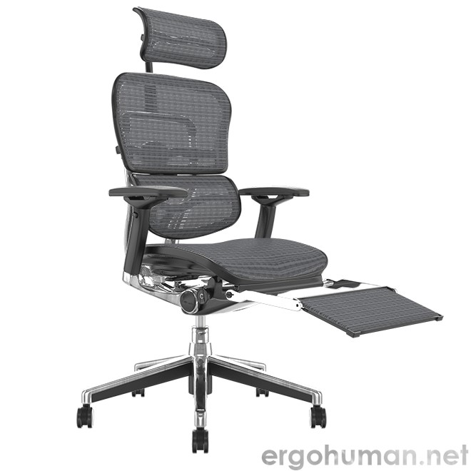 Ergohuman Elite Grey Mesh Office Chair with Leg Rest